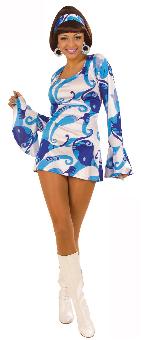 43b0435bae601a Blauwe hippie disco outfit voor dames  Volwassenen kostuums