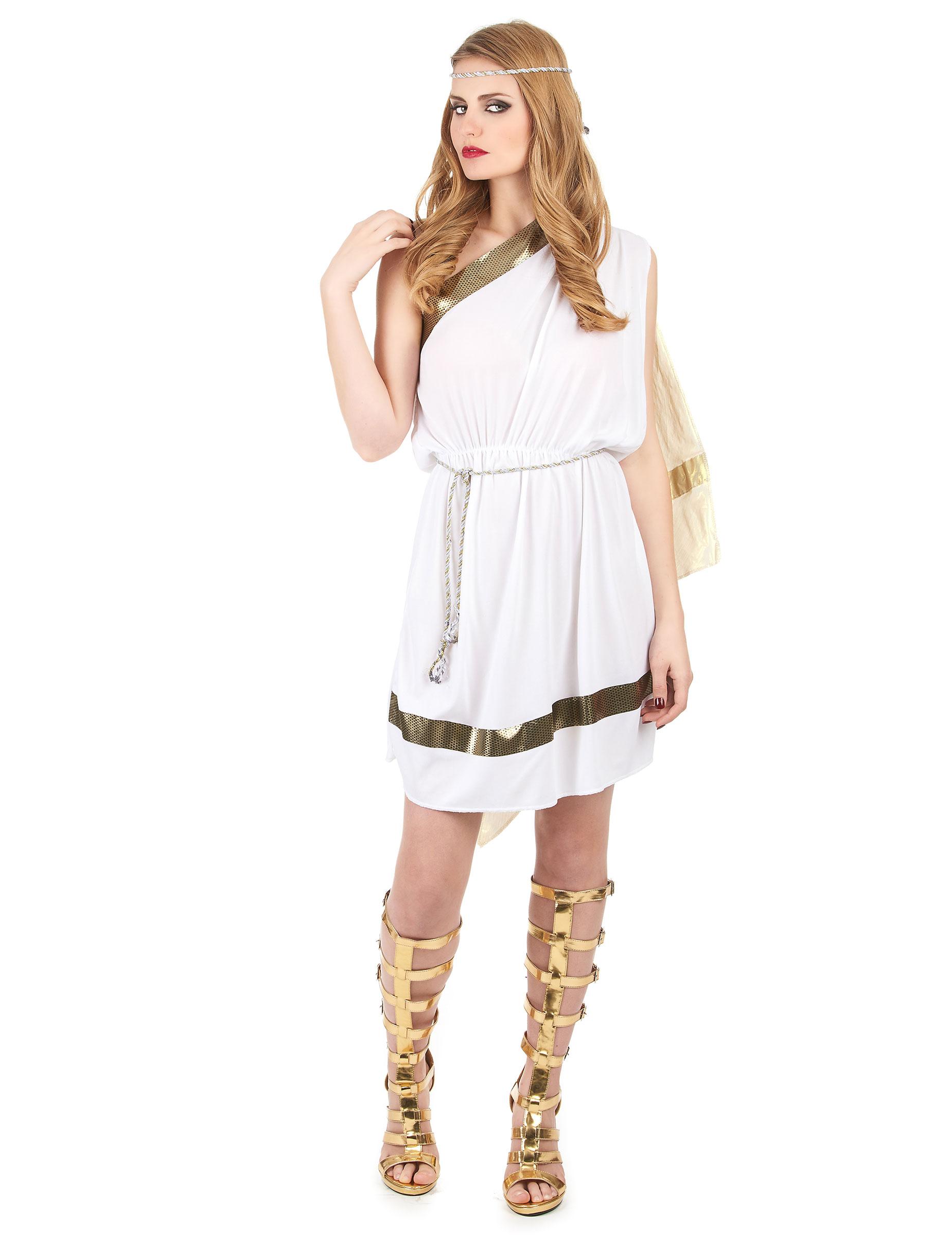 53b305f03a8a0b Klassiek wit kostuum van een Romeinse godin voor volwassenen ...