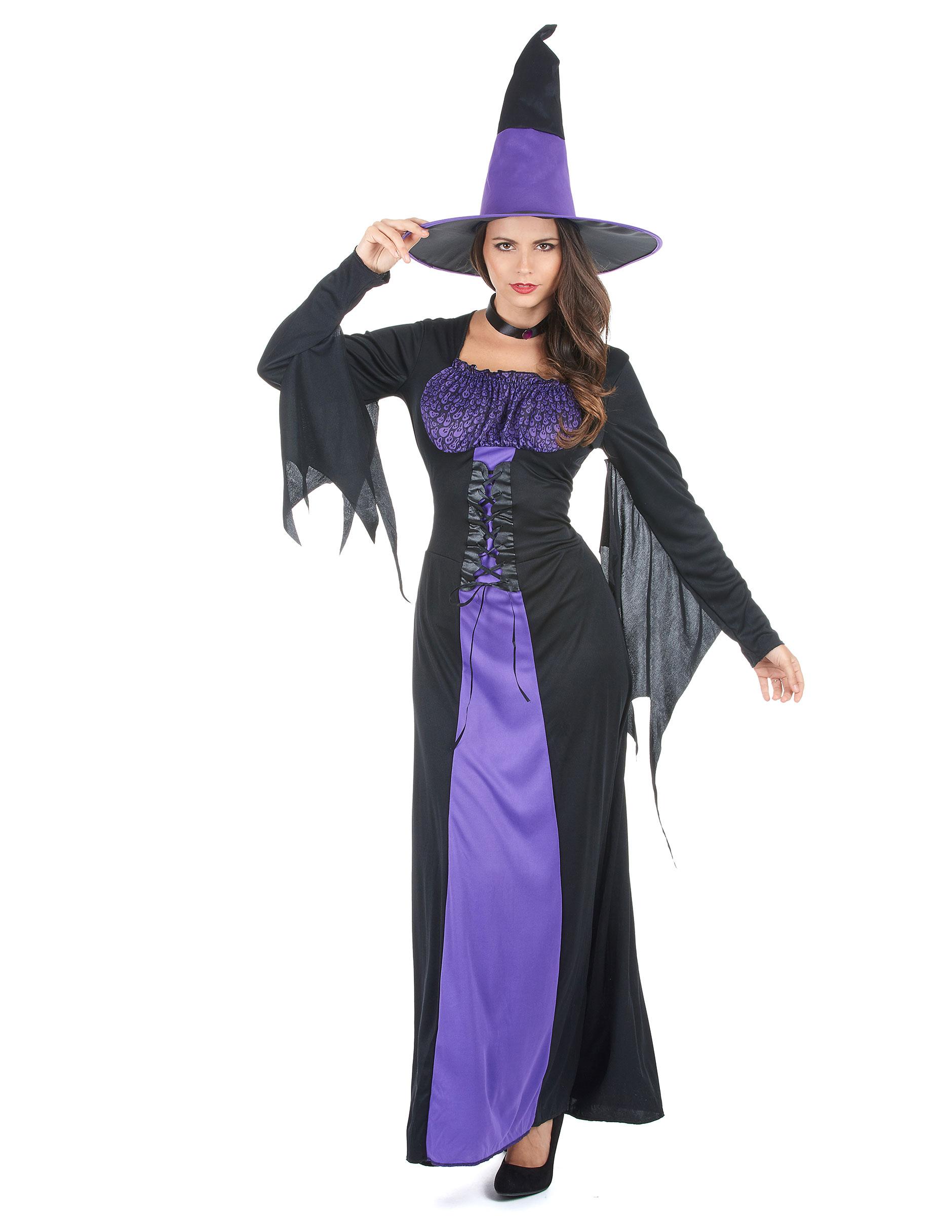 Kostuum Kopen Halloween.Zwart Met Paars Heks Kostuum Voor Vrouwen