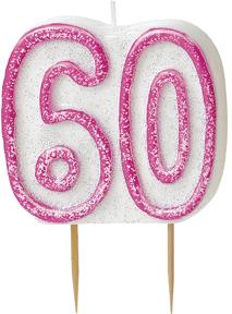 Roze verjaardagskaars 60 jaar decoratie en goedkope for Decoratie 60 jaar