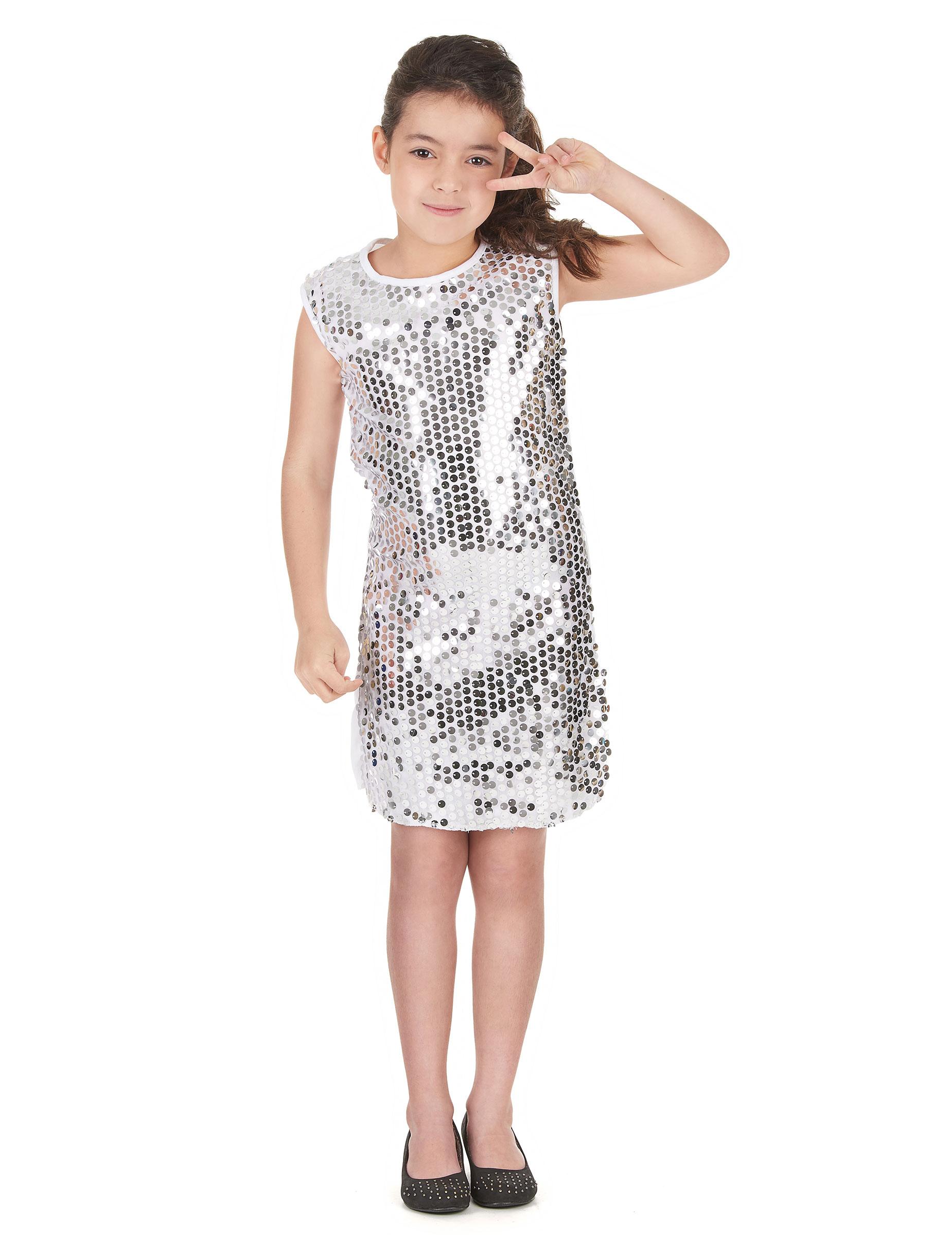752472797b7a5d Verkleedkostuum voor meisjes Disco zilverkleurig Carnvaloutfit