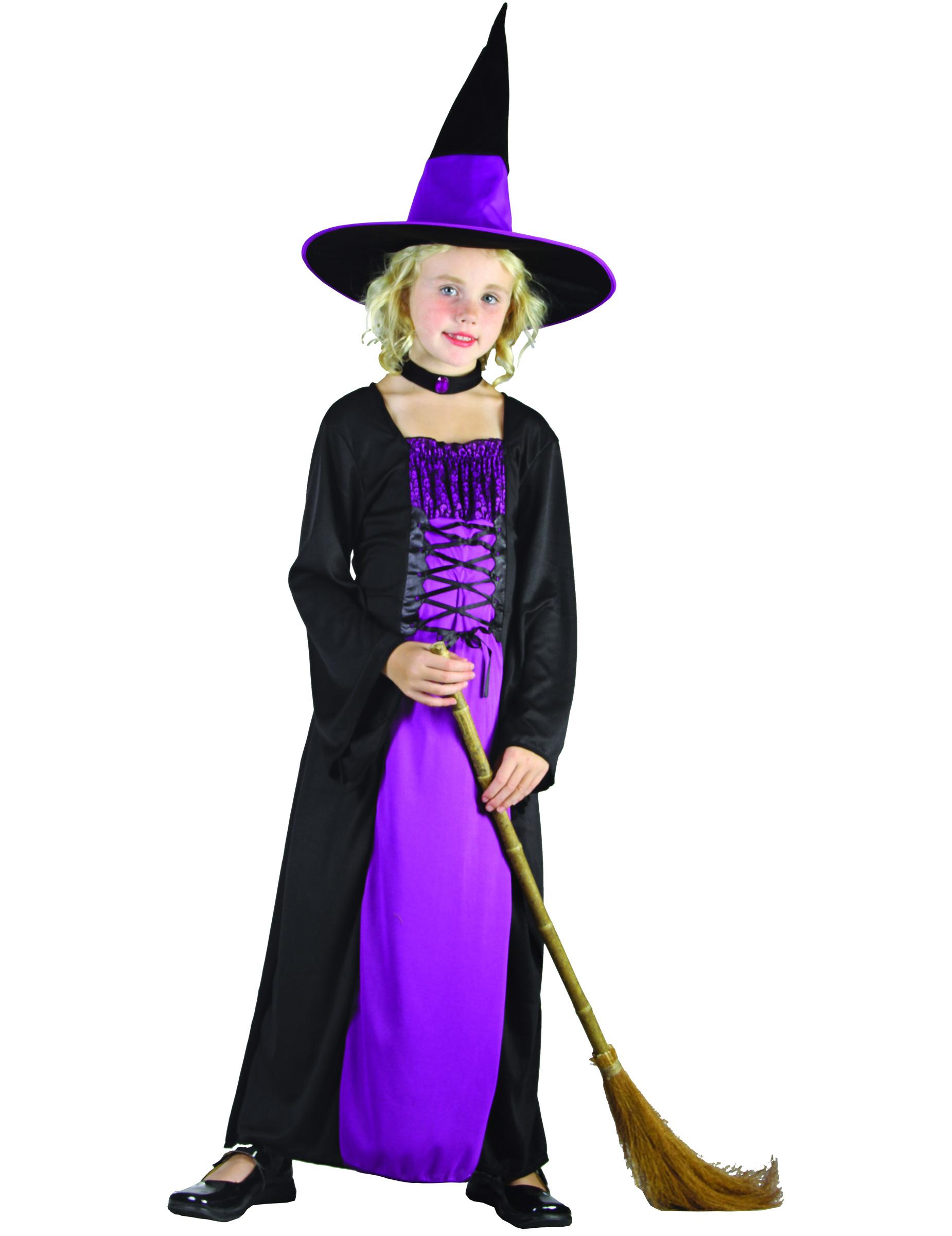 Halloween Pak.Verkleedkostuum Paars Heks Voor Meisjes Halloween Pak
