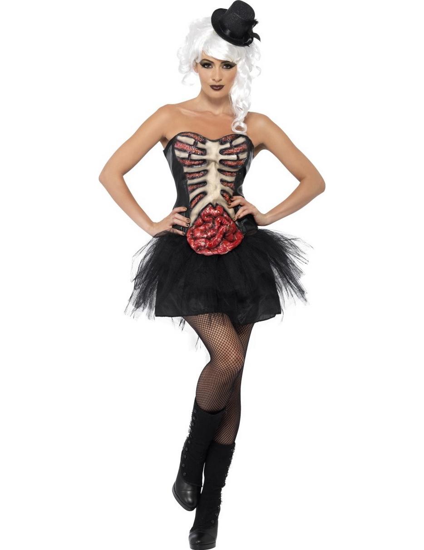 Halloween Pak.Verkleedkostuum Skelet Met Open Borst Voor Dames Halloween Pak
