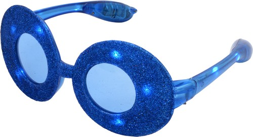 Blauwe glitterbril met led verlichting - Vegaoo.nl