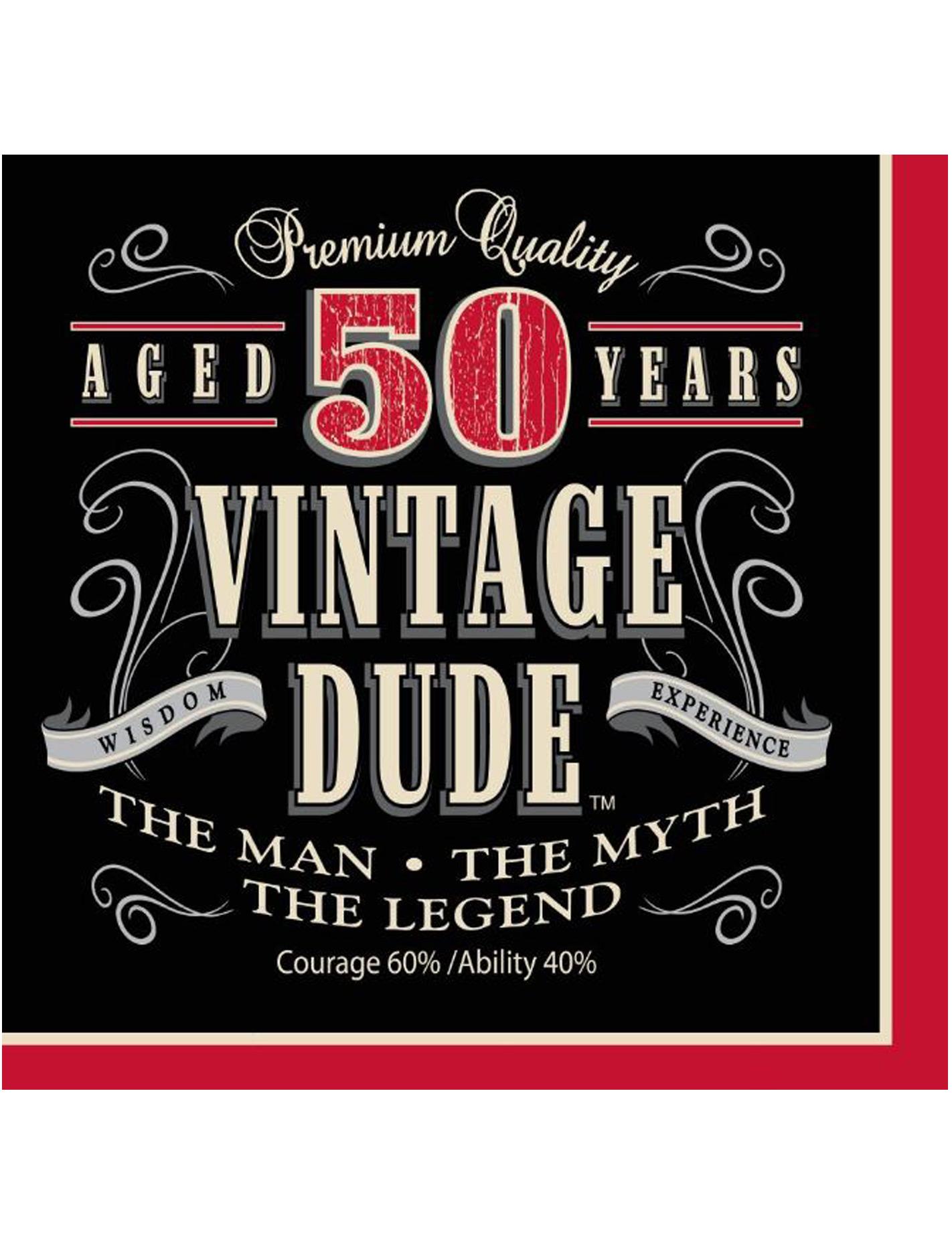 afbeelding 50 jaar man Set van servetten Vintage 50 jaar: Decoratie,en goedkope  afbeelding 50 jaar man