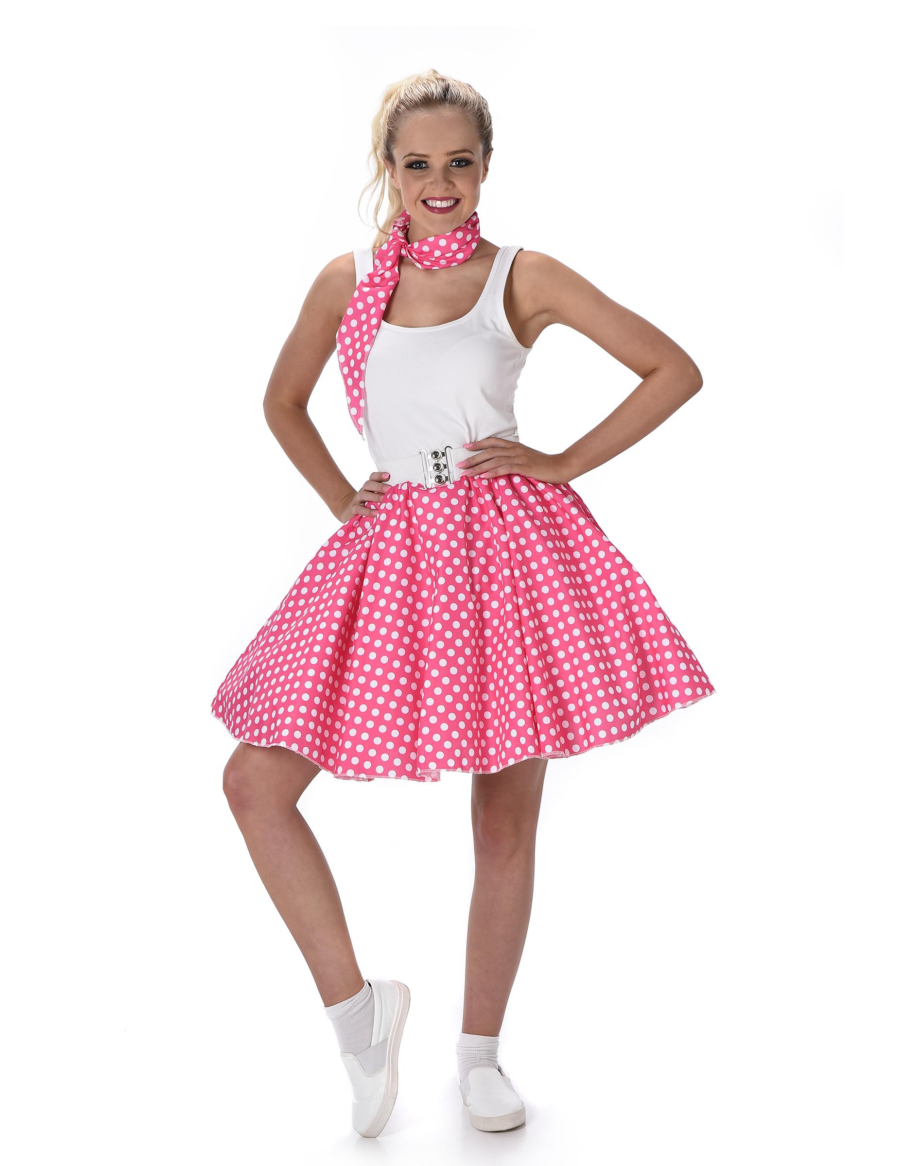Roze Carnavalskleding Dames.Roze Jaren 50 Kostuum Met Stippen Voor Vrouwen Volwassenen Kostuums