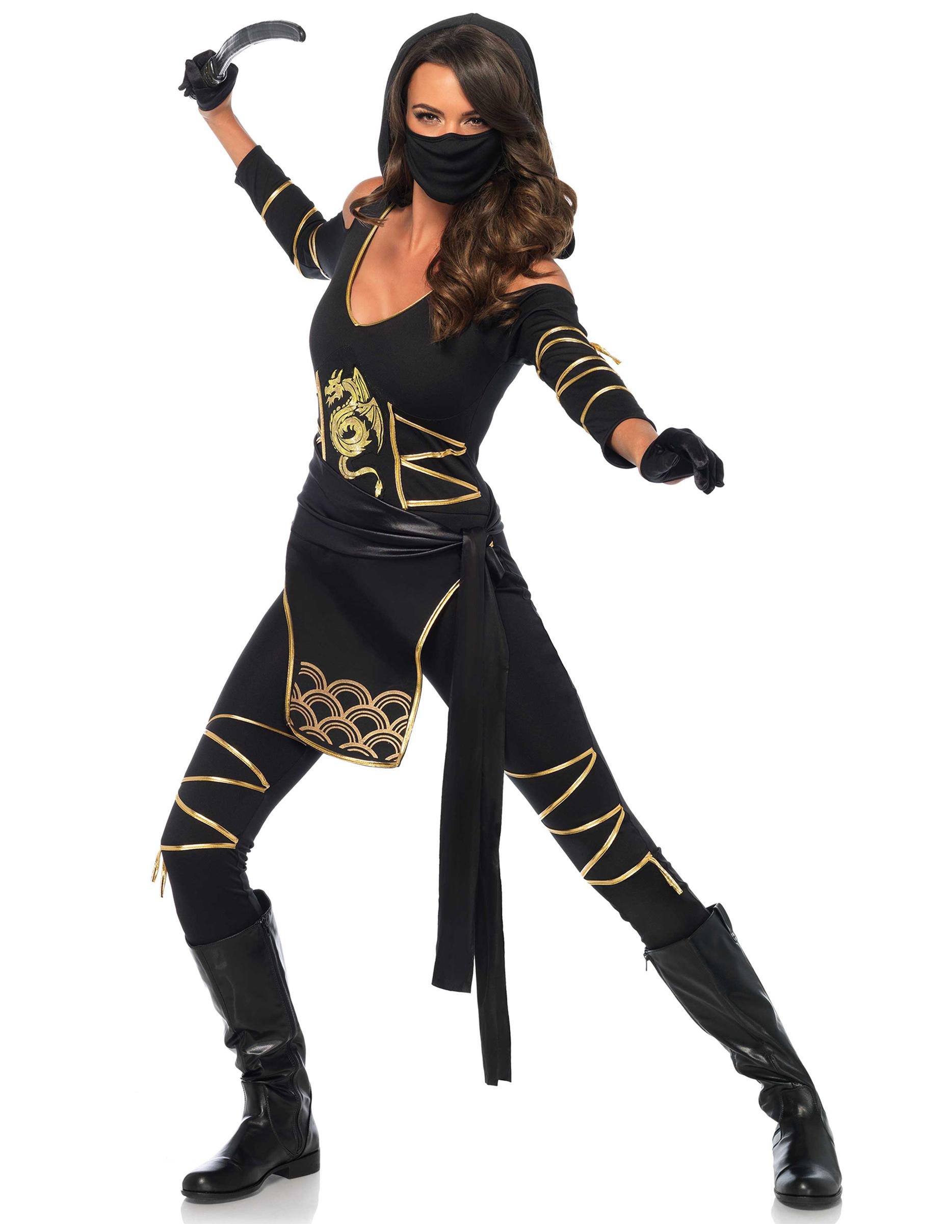 Carnavalskleding Dames Ninja.Goudkleurig Draken Ninjakostuum Voor Vrouwen Volwassenen Kostuums