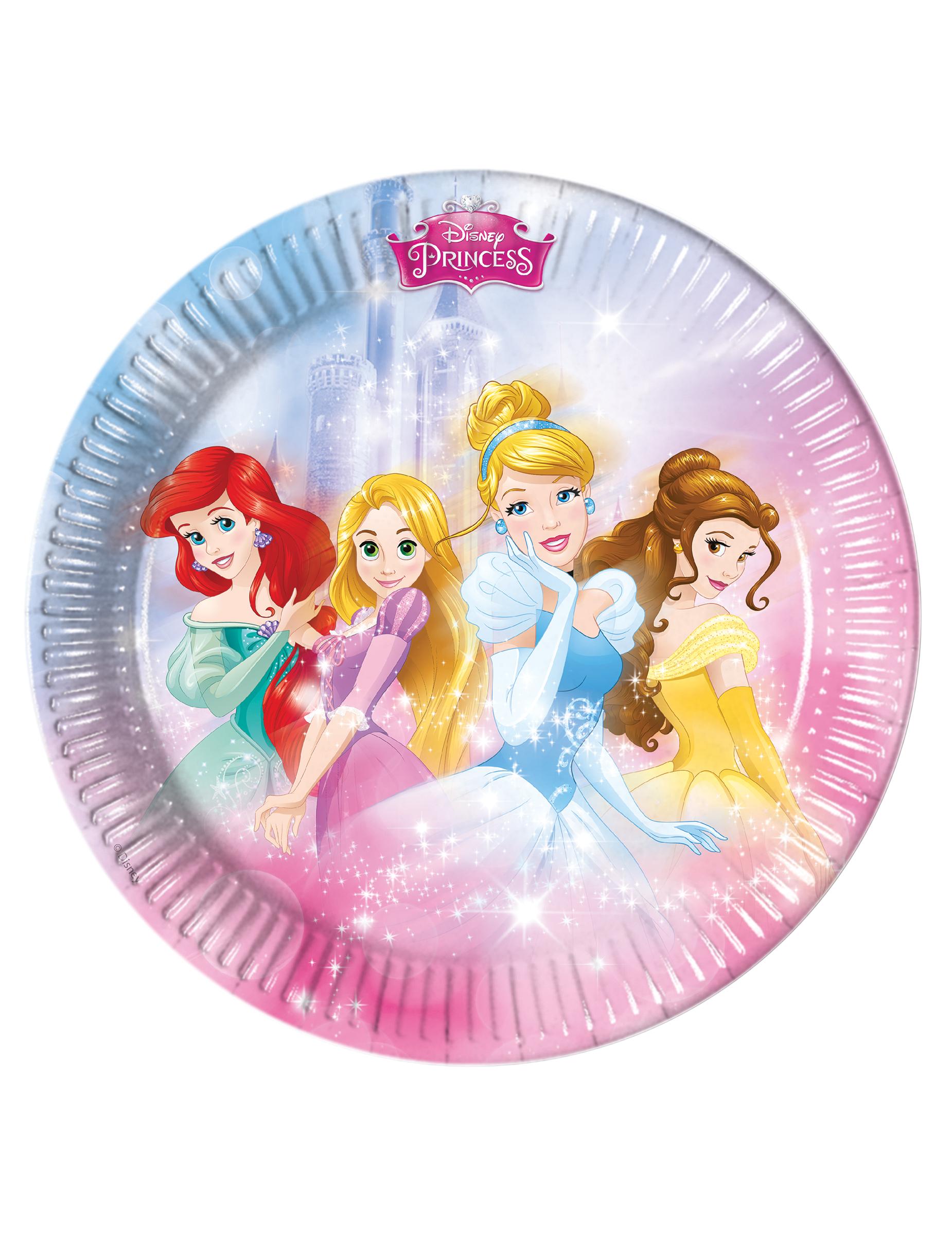 Set van 8 Disney prinsessen™ bordjes karton - Vegaoo.nl