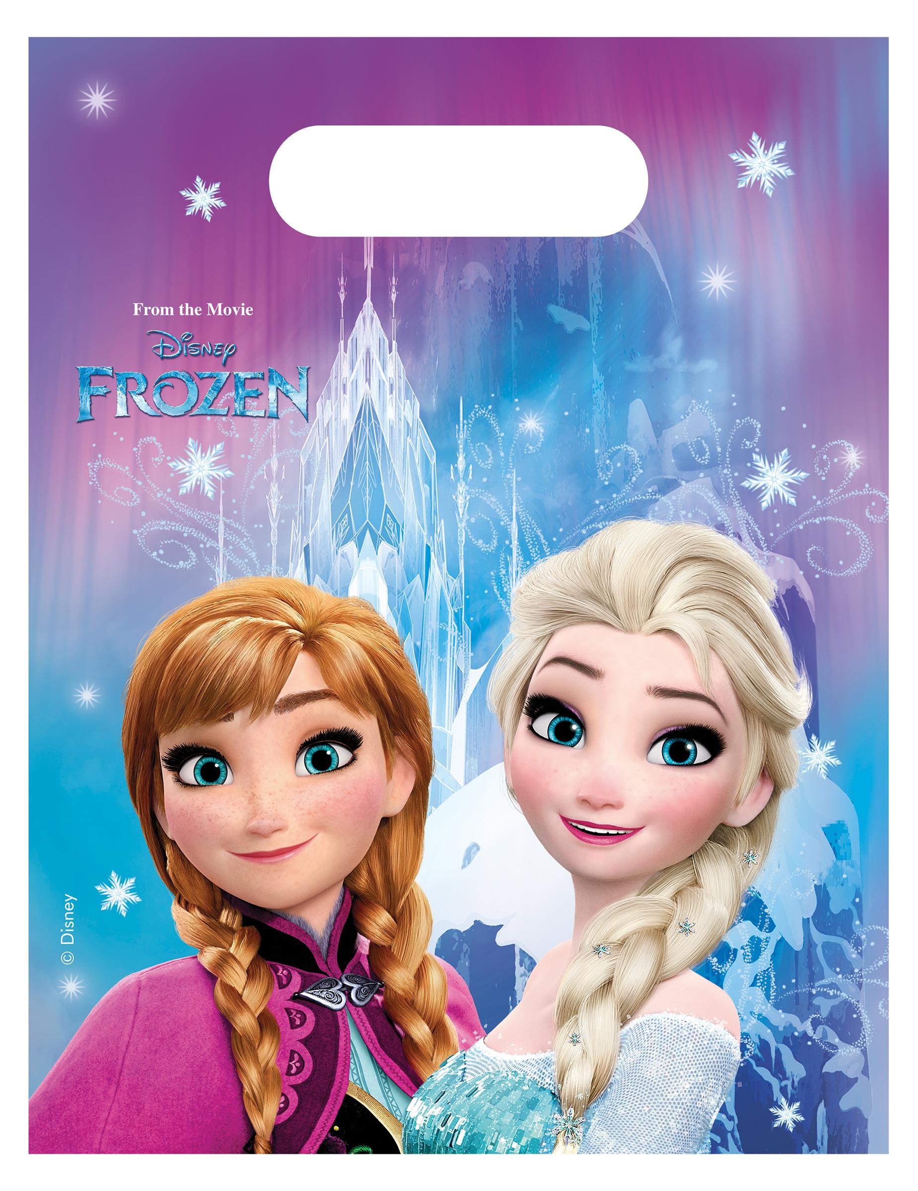 6 plastic Frozen? uitdeel tasjes