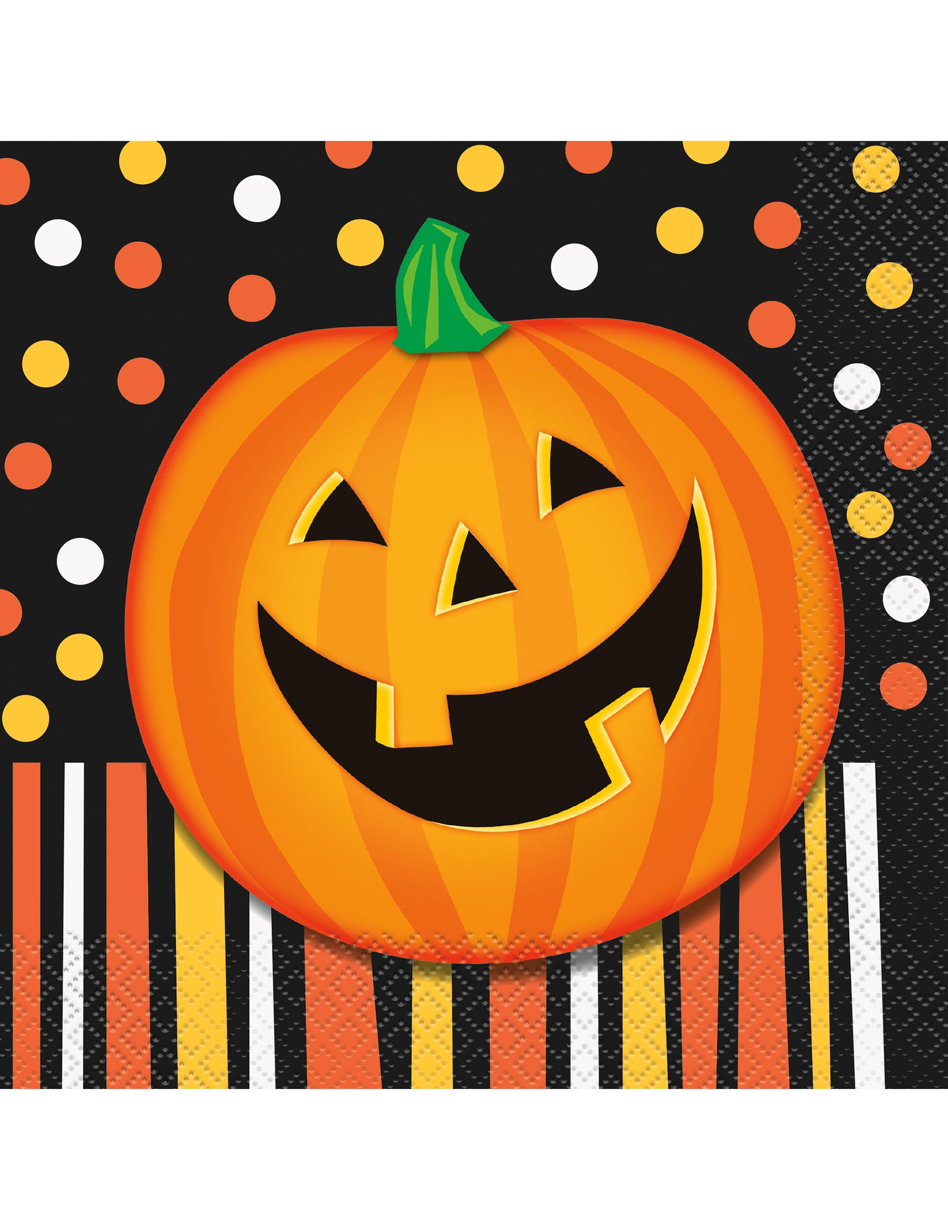 Pompoen Halloween.16 Pompoen Halloween Servetten