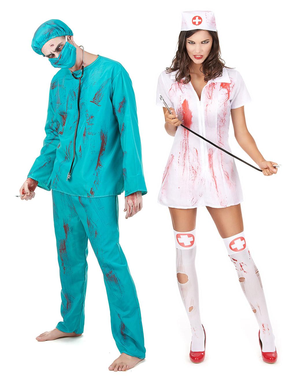 Enge Kostuums Halloween.Zombie Chirurg En Verpleegster Koppel Ko
