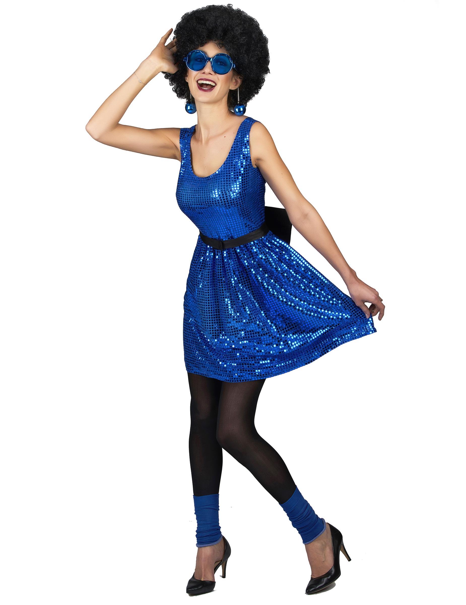 b2e6c864765f86 Blauw glitter disco kostuum met strik voor vrouwen  Volwassenen ...