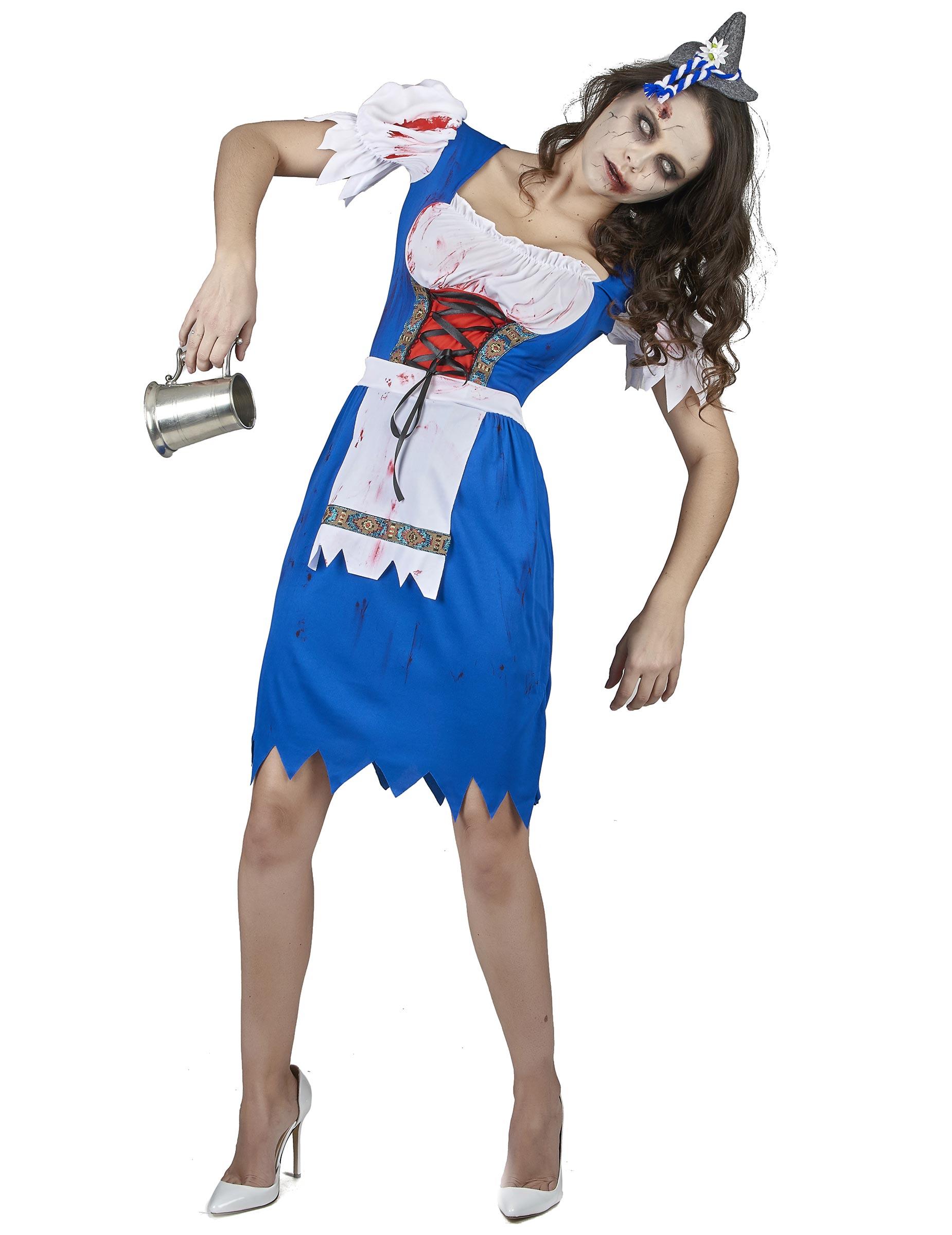 Blauwe zombie dirndl jurk voor vrouwen: Volwassenen ...