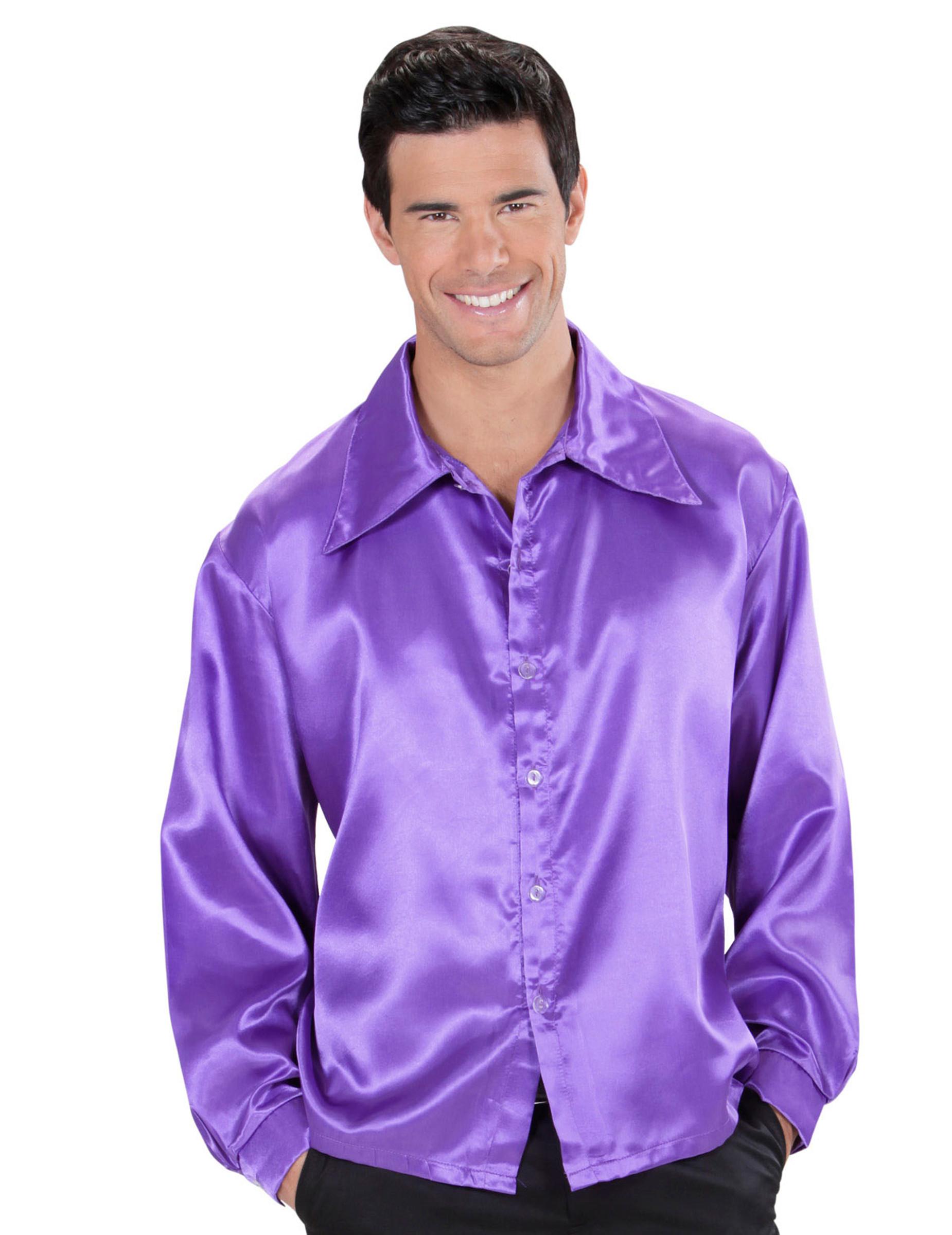satijnachtige paarse blouse voor mannen volwassenen kostuums en goedkope carnavalskleding vegaoo. Black Bedroom Furniture Sets. Home Design Ideas