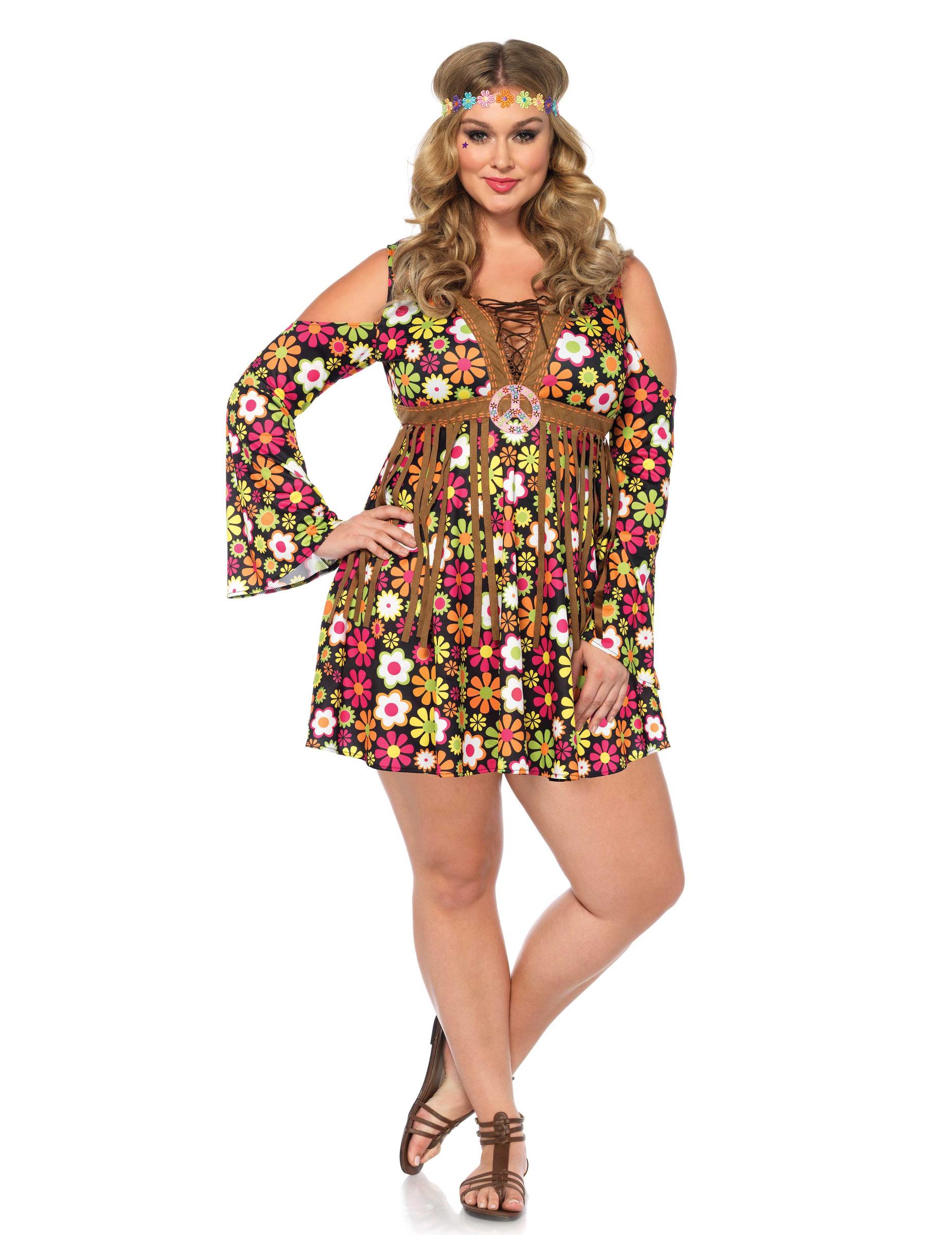 Bloemen hippie kostuum voor dames - Grote Maten ...