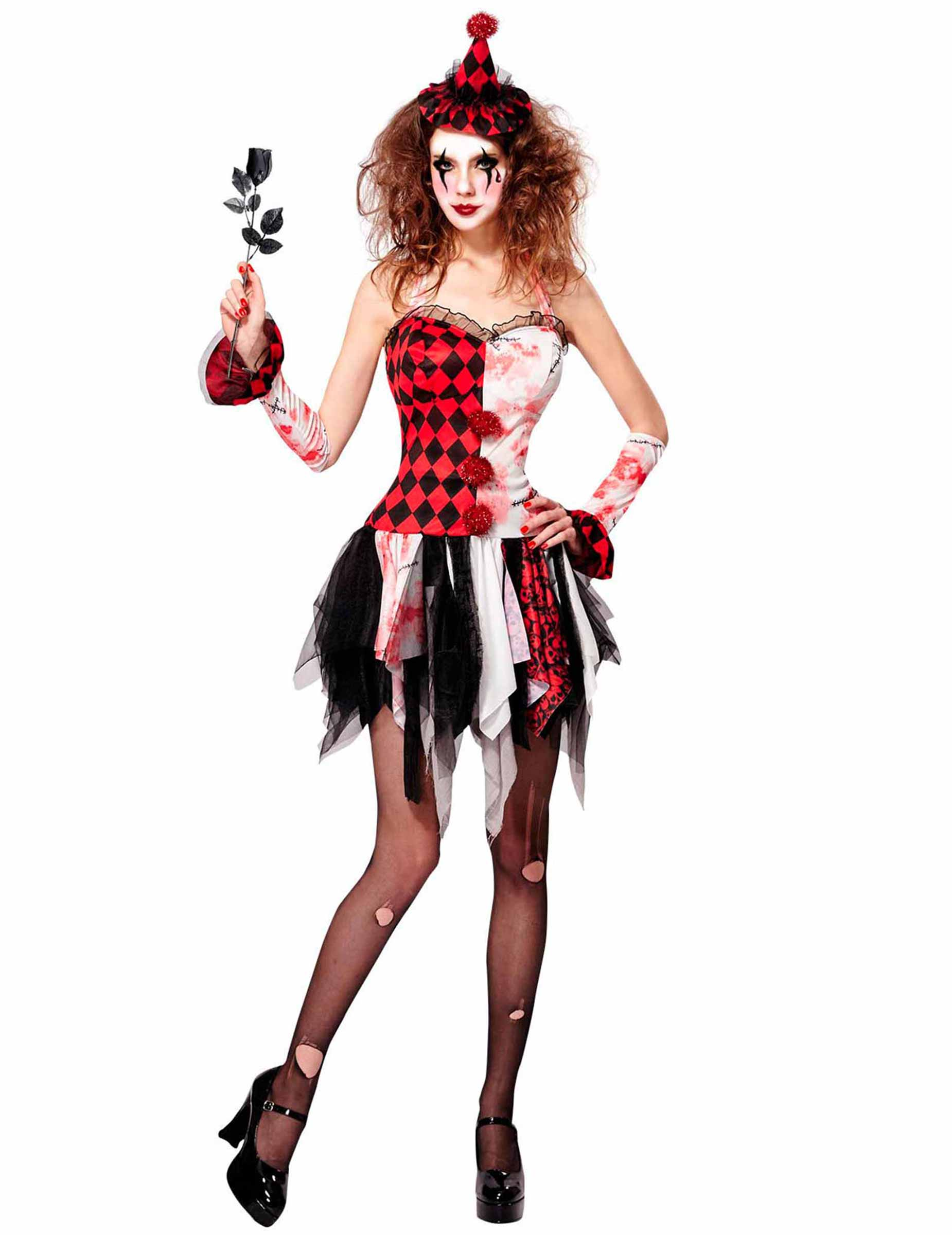 Enge Kostuums Halloween.Enge Harlekijn Kostuum Voor Vrouwen