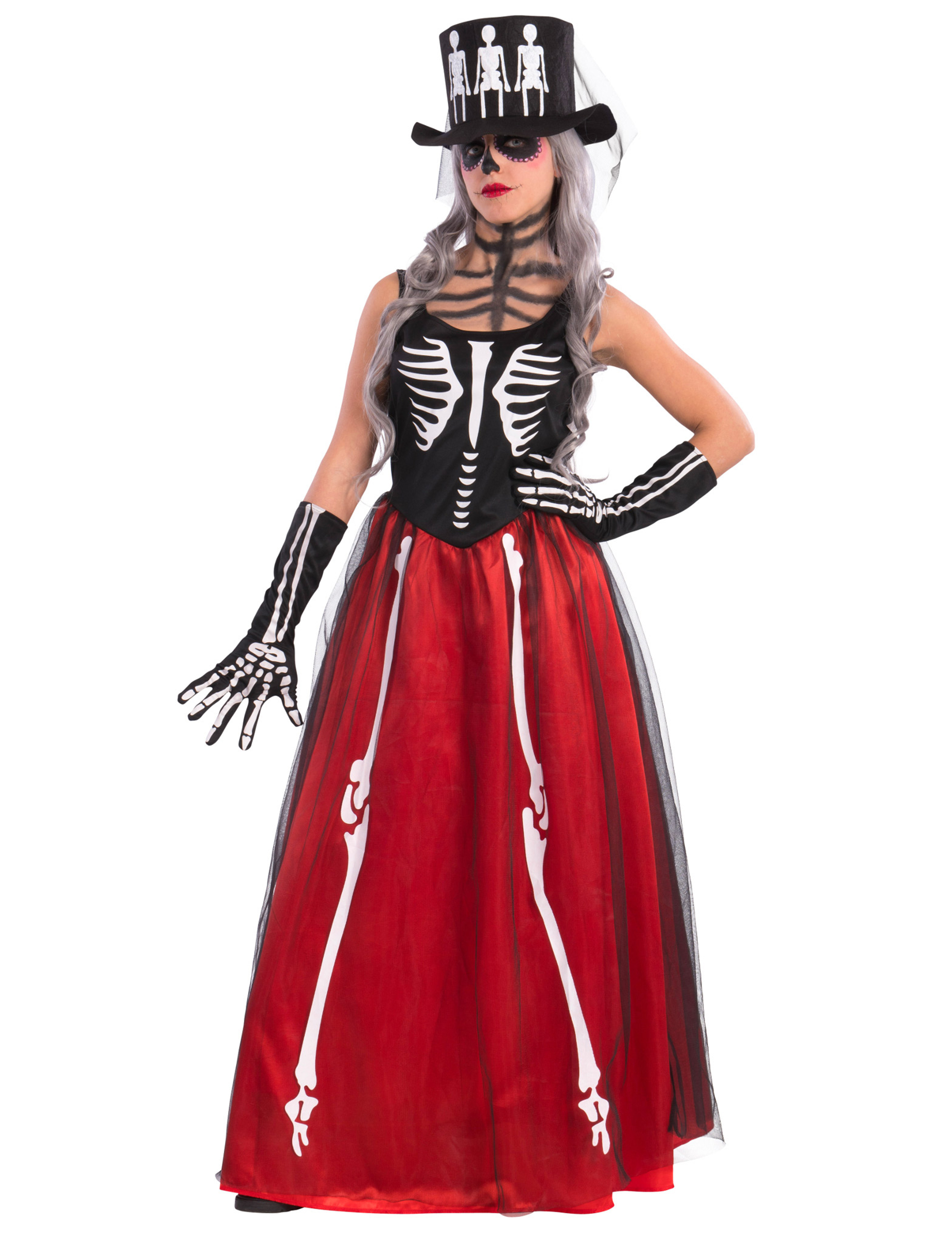 eab0e5386cc4de Elegante skeletten jurk voor dames  Volwassenen kostuums