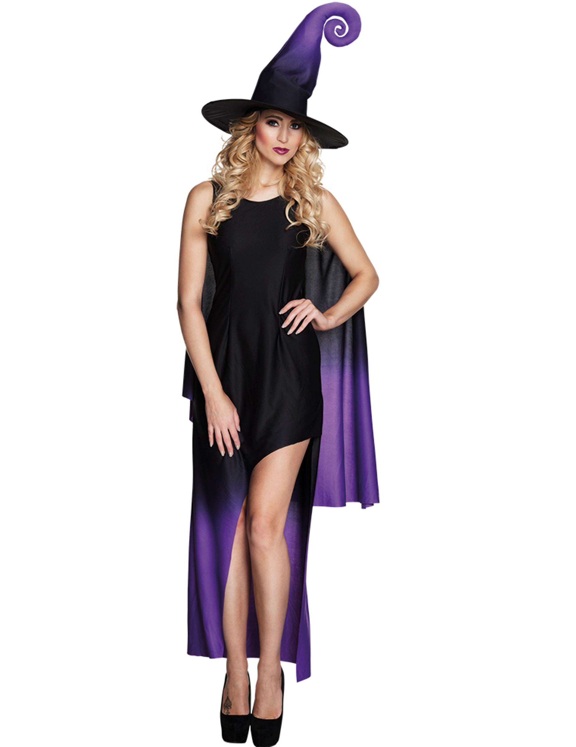 a9cf07646f3da8 Zwarte en paarse heksenjurk kostuum voor vrouwen  Volwassenen ...