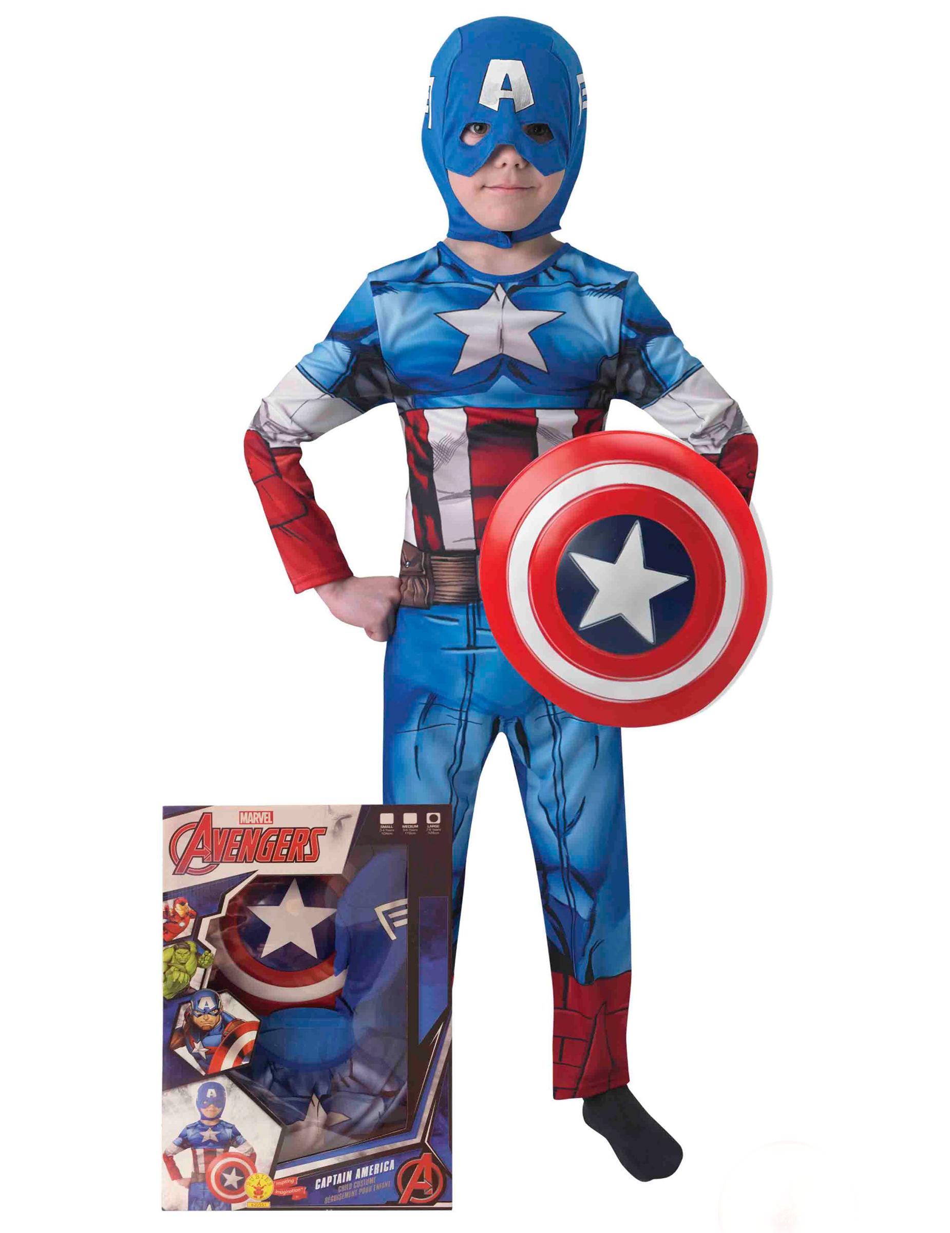 captain america kostuum met schild voor kinderen kinderkostuums en goedkope carnavalskleding. Black Bedroom Furniture Sets. Home Design Ideas