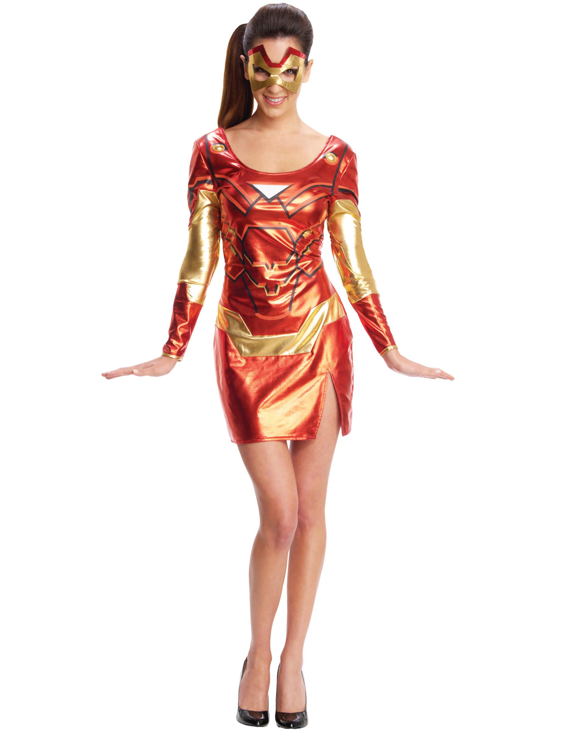 Rode Dames Jurk.Rode En Goudkleurige Iron Girl Jurk Met Masker Voor Dames