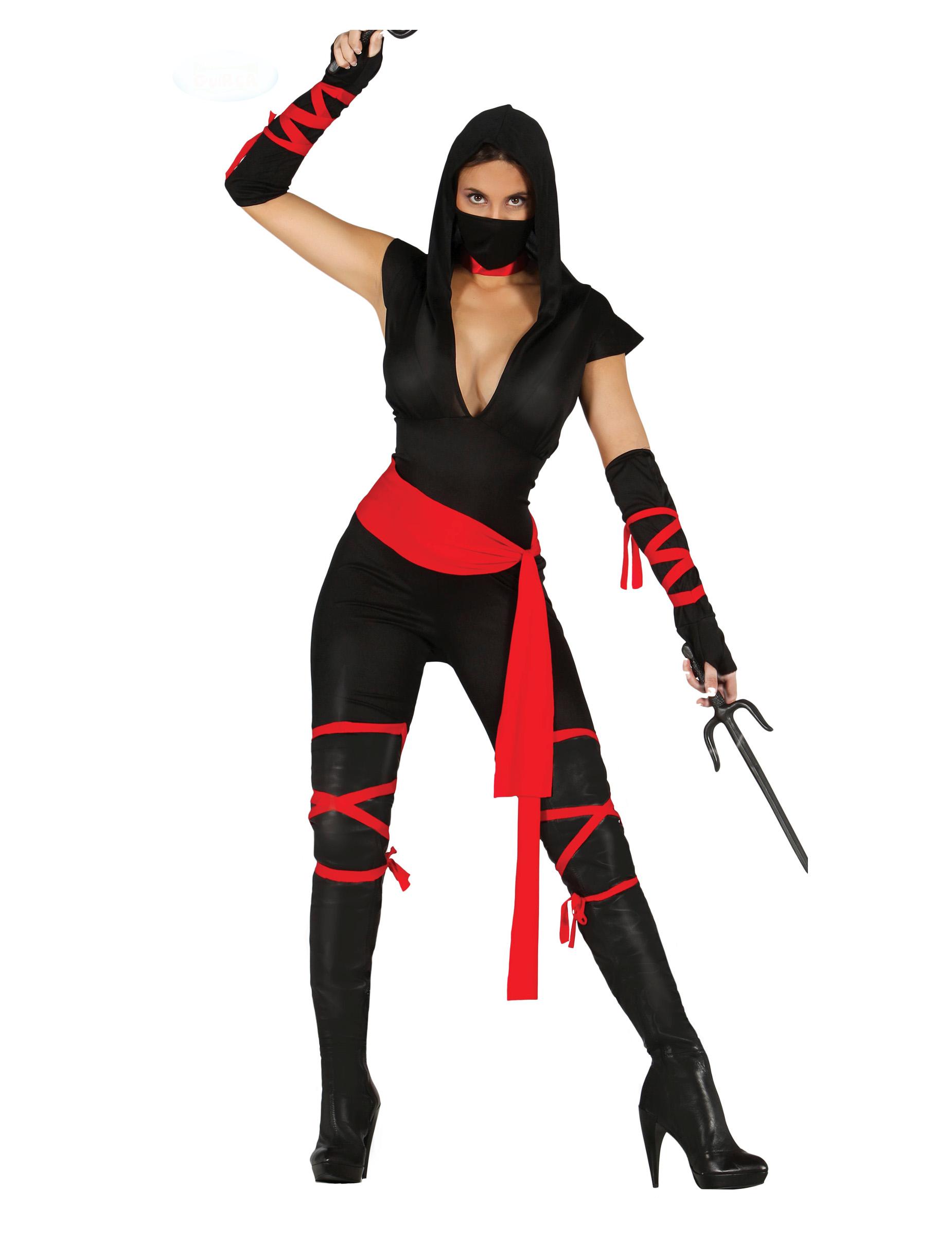 Carnavalskleding Ninja Dames.Sexy Zwart En Rood Ninja Kostuum Voor Dames Volwassenen Kostuums En