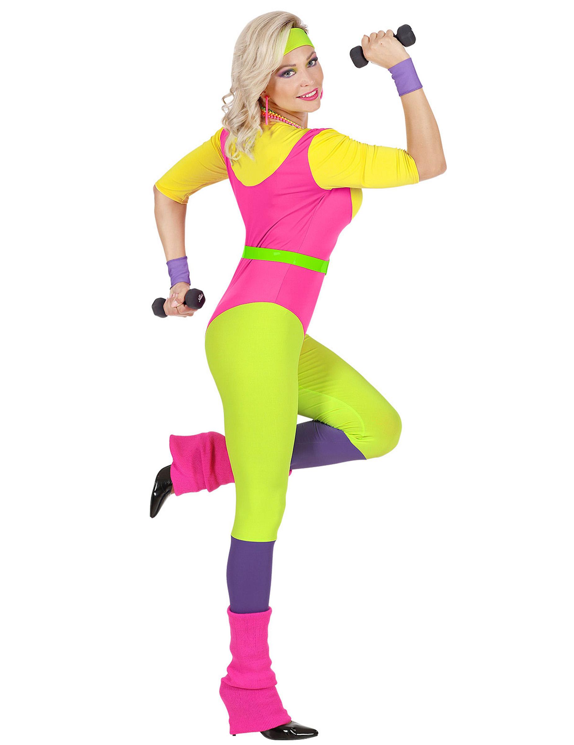 Super Jaren 80 aerobics kostuum voor vrouwen: Volwassenen kostuums,en UM-82