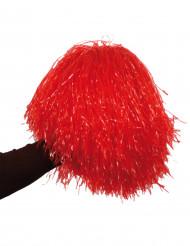 Rode metaalkleurige pompon