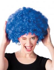 Blauwe disco afropruik voor volwassenen