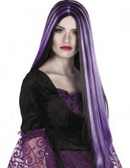 Zwart-paarse Halloweenspruik voor dames Halloween pruik