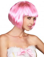 Korte roze damespruik