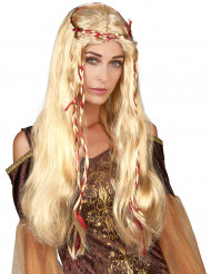 Blonde middeleeuwse damespruik