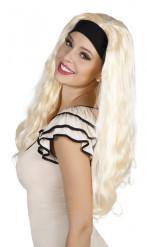Lange blonde damespruik met hoofdband