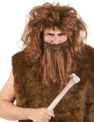 Kastanjebruine holbewonerspruik en -baard voor mannen