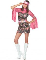 Roze disco kostuum met bloemenpatronen voor vrouwen