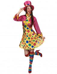 Clownskostuum met grote stippen voor vrouwen