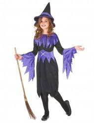 Zwart en paars gekleurd heksen kostuum voor meisjes