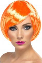 Korte oranje glamourpruik voor dames
