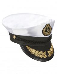 Wit met zwarte kapiteinspet voor volwassenen