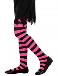 Roze en zwart gestreepte panty voor kinderen