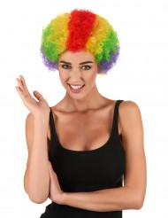 Veelkleurige Afroclownspruik voor volwassenen
