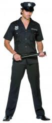 Zwart politie agent kostuum voor mannen