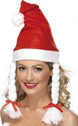Kerstvrouw muts met vlechten voor volwassenen