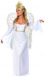 Goudkleurig en wit kerstengelenkostuum voor vrouwen