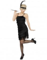 Zwart charleston kostuum met franjes voor vrouwen