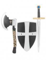 Schild, zwaard en bijl van middeleeuwse ridder