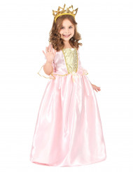 Roze prinses kostuum met goudkleurige kroon voor meisjes