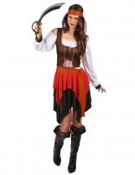 Piraten kostuum met bruin korset voor vrouwen