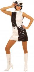 Zwart-witte sixties kostuum voor dames