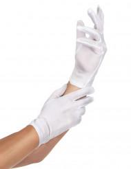 Witte dun stoffen handschoenen voor volwassenen