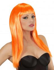 Oranje glamourpruik voor dames